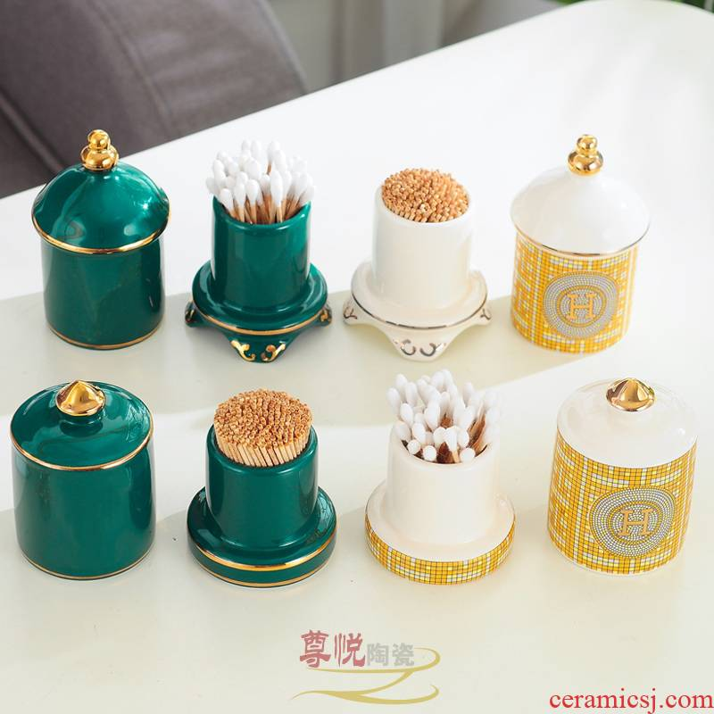 Nordic ceramic toothpicks extinguishers creative home toothpicks extinguishers tank cotton box of toothpick bottle cup sitting room tea table table furnishing articles