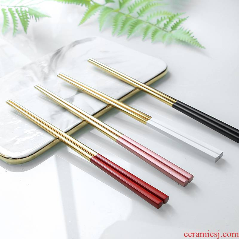 Two pairs of a loading chopsticks home ins of stainless steel tableware couples to the as the Philippines dining table antiskid - a pair of chopsticks one of northern Europe