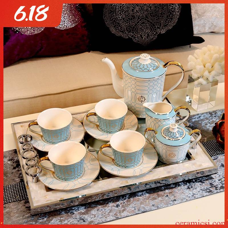 Small European - style key-2 luxury coffee cup suit English afternoon tea cup coffee cups and saucers household tray was coffee equipment