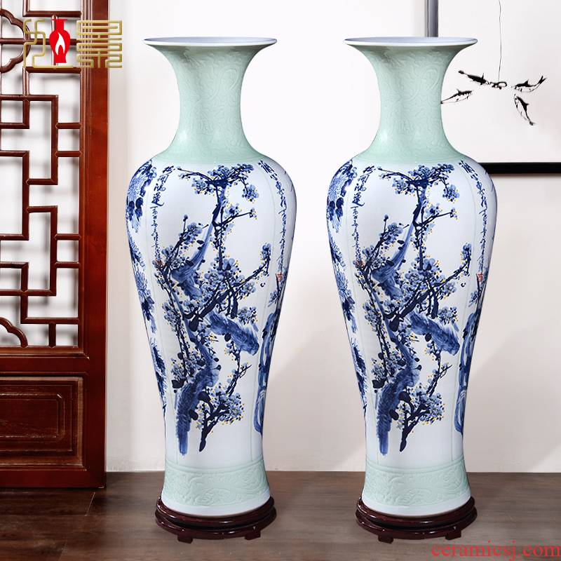 By patterns jingdezhen ceramic floor big vase home sitting room hotel lobby decoration flower arranging, furnishing articles