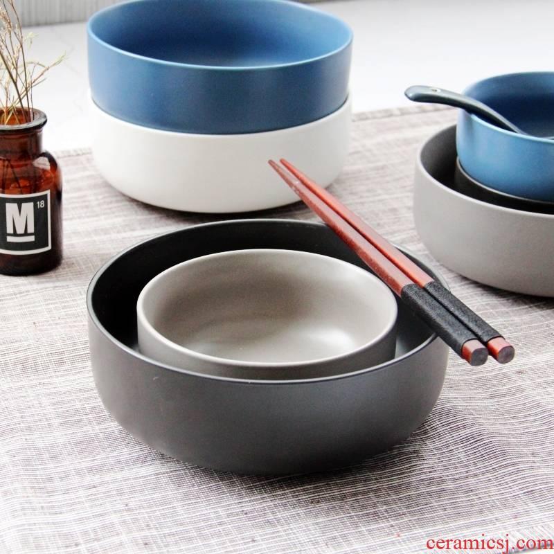 "W6 ""household rice bowls large plain vegetarian rainbow such use black ceramic tableware plain monks in large bowl bowl bowl method"