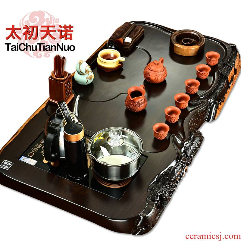 The beginning day, ebony wood tea tray was four one tea stove of a complete set of automatic violet arenaceous kung fu tea tea tea set