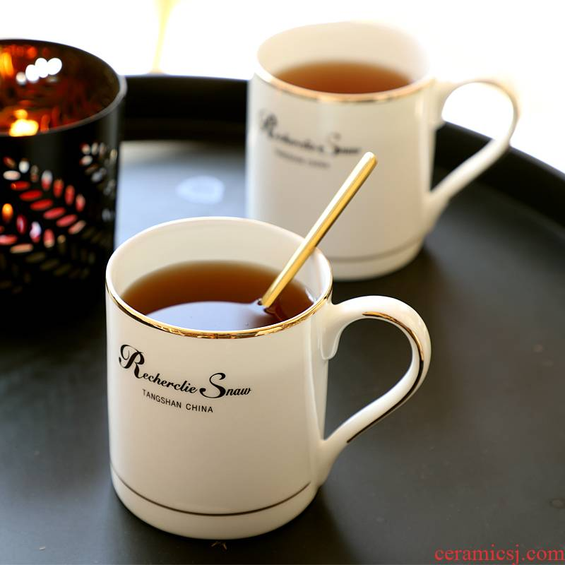 Tangshan ipads China cups ceramic keller with spoon tide lovers ultimately responds a cup of coffee cup men 's and women' s cup