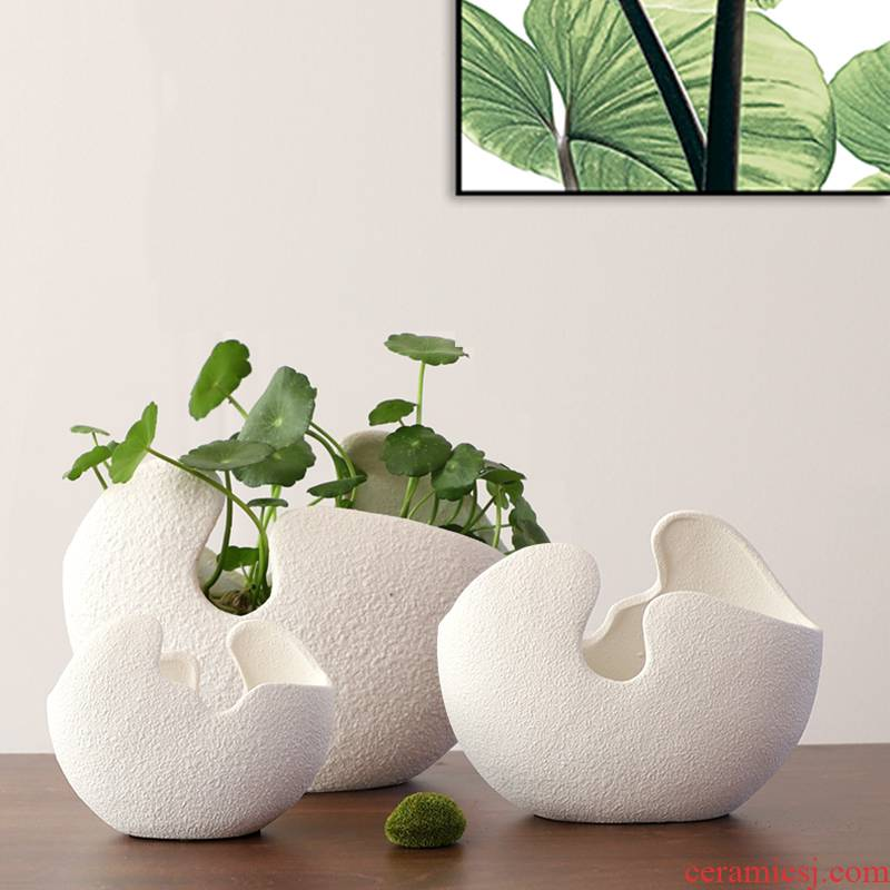 Refers to flower pot ceramic large hydroponic container without hole, copper bowl lotus money plant grass creative small fleshy plant water lily