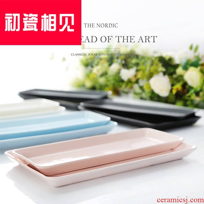 Porcelain meet each other at the beginning of glass plate tower tray rectangle household Nordic is wind network creative living room European - style red plate