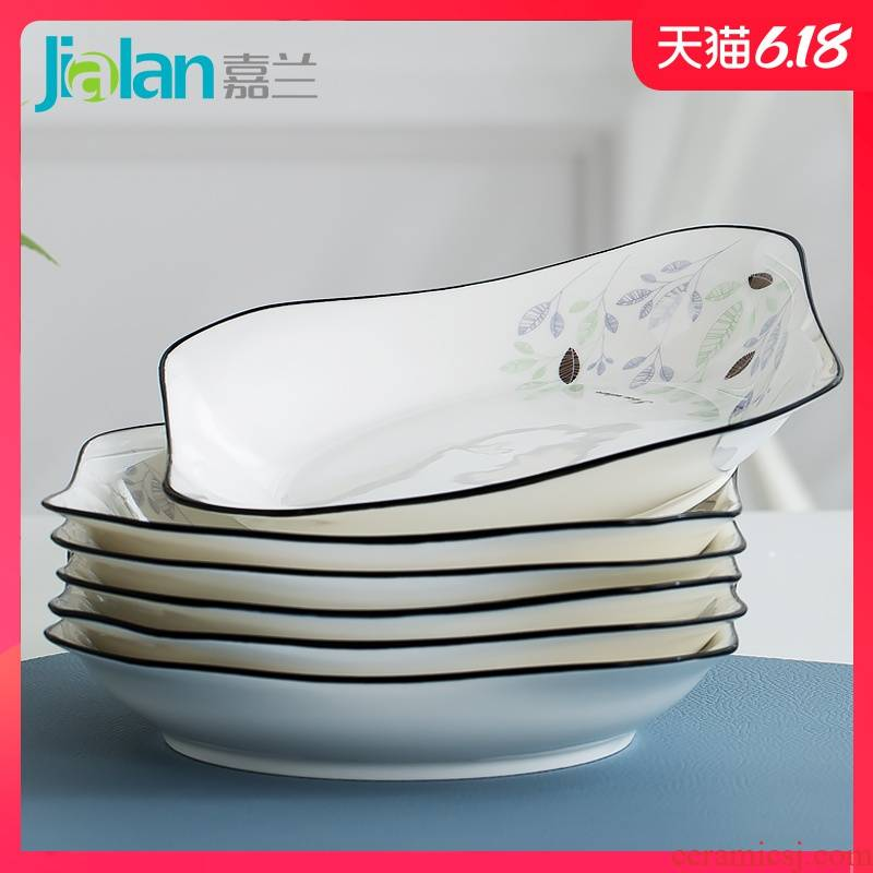 Garland of household ceramic bowl dish combination tableware suit more creative contracted small pure and fresh and deep dish dish dish plate