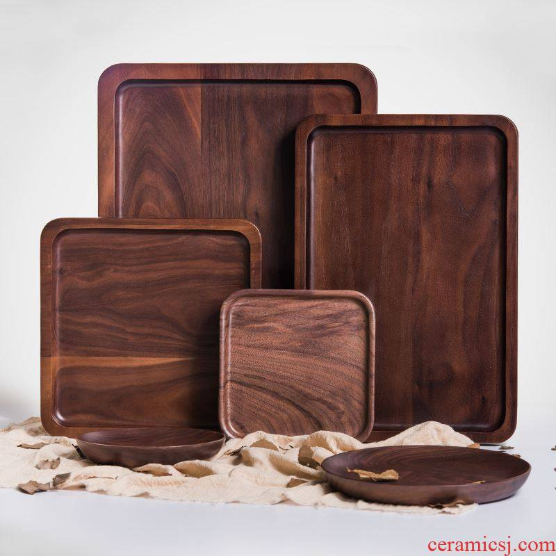 Black walnut wooden pallet Japanese saucer dish rectangular wood pallet all the meals for the saucer solid wood pallets