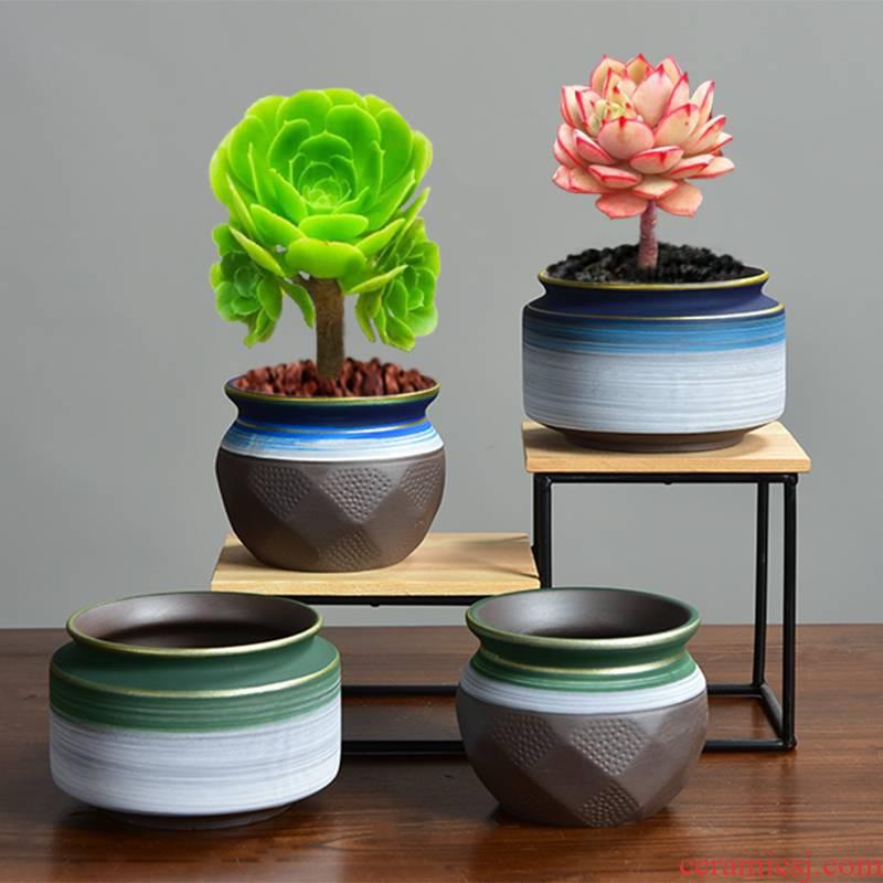 Ceramic fleshy mage, flower pot in asparagus purple sand tire air bonsai pot a clearance sale micro landscape landscape floral outraged