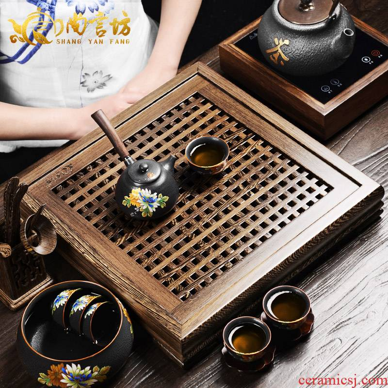 It still fang solid wood tea chicken wings wood ebony kung fu tea tea tray drawer tray tea tea tray ebony