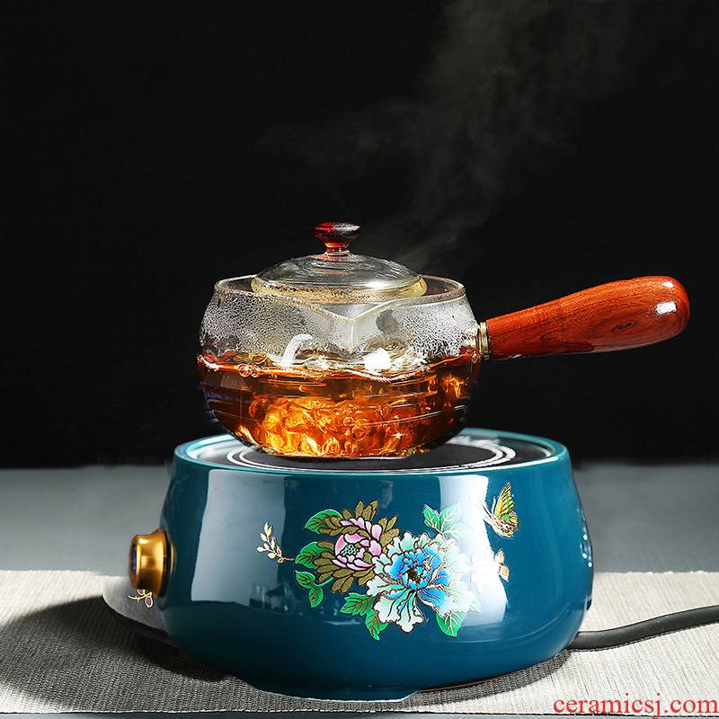 Thickening of the heat - resistant glass teapot all kung fu tea set can heat the transparent side boil pot teapot tea kettle