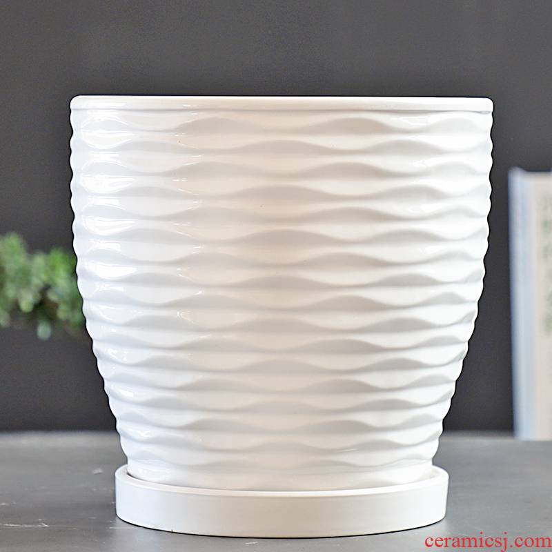 Flowerpot ceramic white special offer a clearance pallet size extra large creative move and contracted more than other meat Flowerpot
