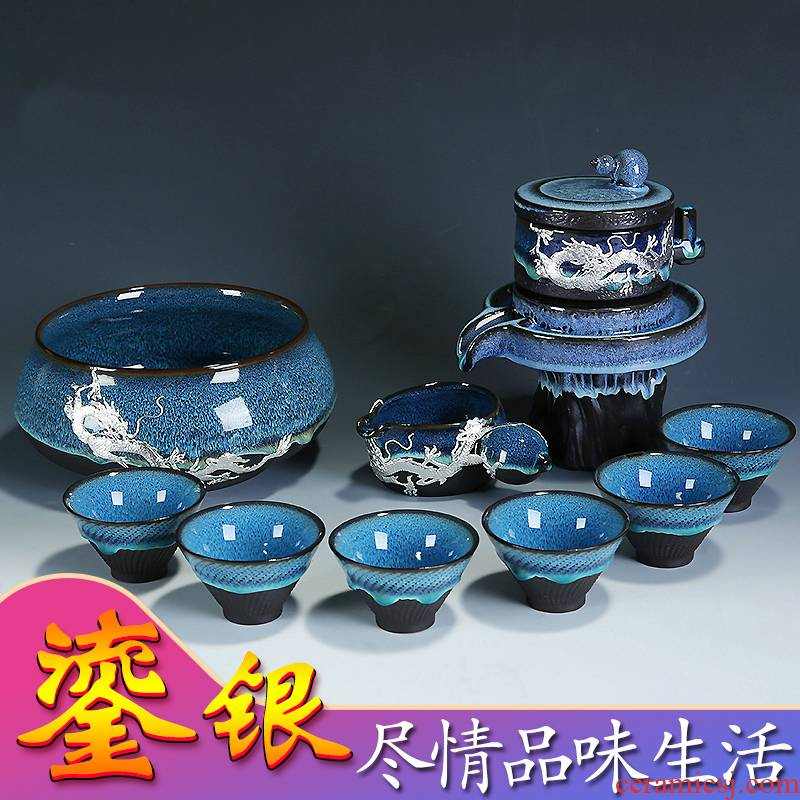 Build light tea set home lazy semi - automatic creative stone mill kung fu tea ware ceramic teapot teacup obsidian