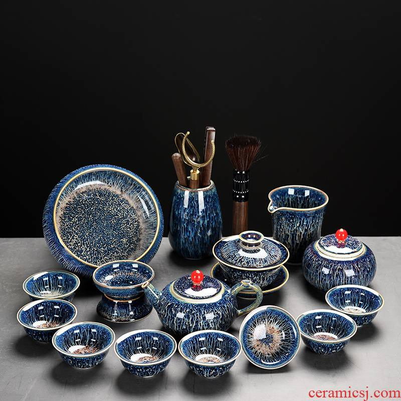 The flute high - grade tea set fog sky blue dream lamp that restore ancient ways The lid to use The home side of a complete set of tea cups