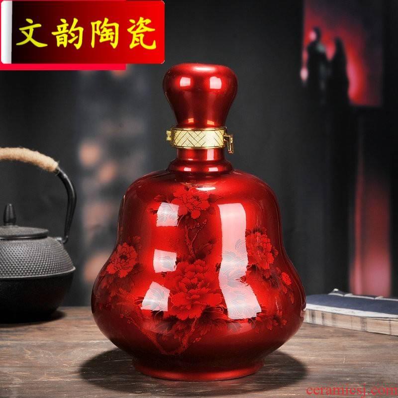 Wen rhyme jingdezhen bulk loading ceramic bottle 5 jins of 5 jins of sealed ball mercifully wine bottle is empty