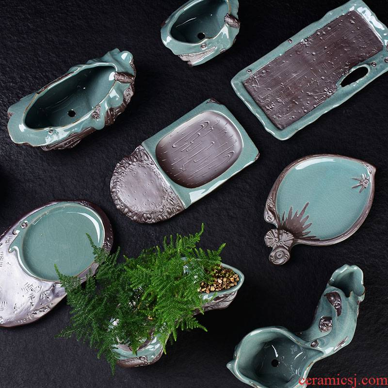 Elder brother up combination home desktop green plant calamus asparagus miniascape of violet arenaceous basin creative ceramic flowerpot with more meat tray