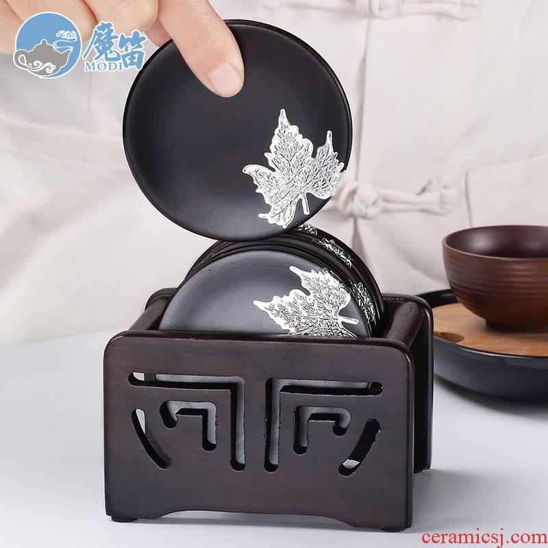 The flute ebony wood tea cup mat cup mat tea kung fu tea saucer insulation creative tea accessories