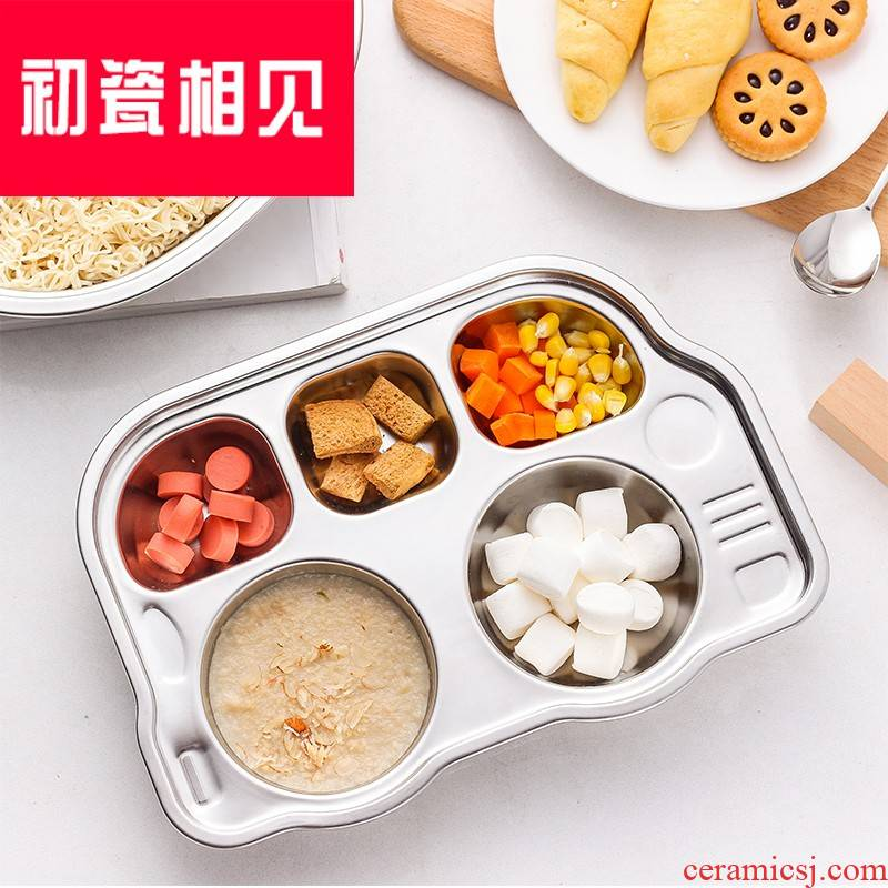 Porcelain meet each other at the beginning of 304 stainless steel frame plate thickening baby infant snack plate, lovely creative three children