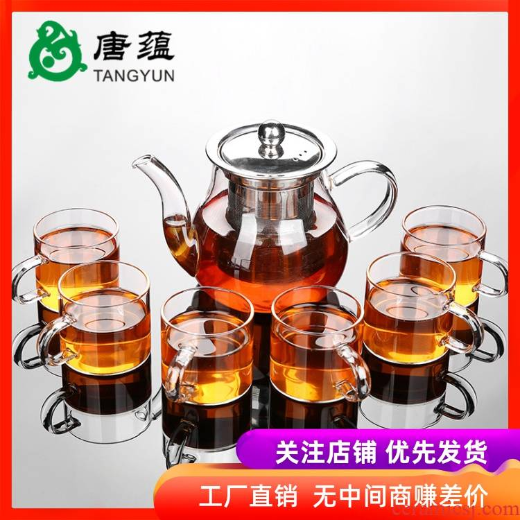 European style glass tea set kung fu tea high - temperature household contracted teapot transparent ceramic cups