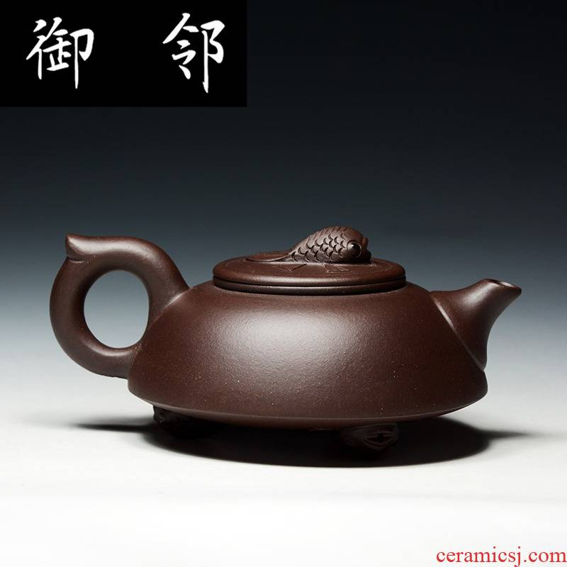 Authentic yixing it famous fu - jun fan manual undressed ore old purple teapot illuminated fish every year more than pot of QD