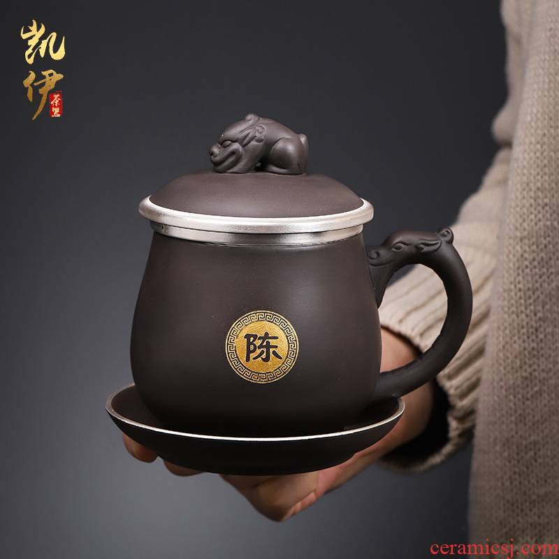 Tasted silver gilding office cup ceramic cup with cover filter office high - capacity custom lettering tea cup silver cup