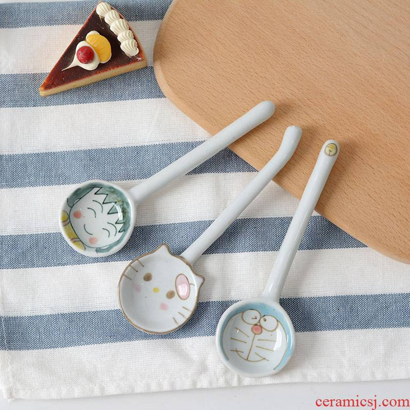 Creative ceramic spoon express cartoon small balls jingle cats Japanese household ultimately responds soup spoon, long handle adult move