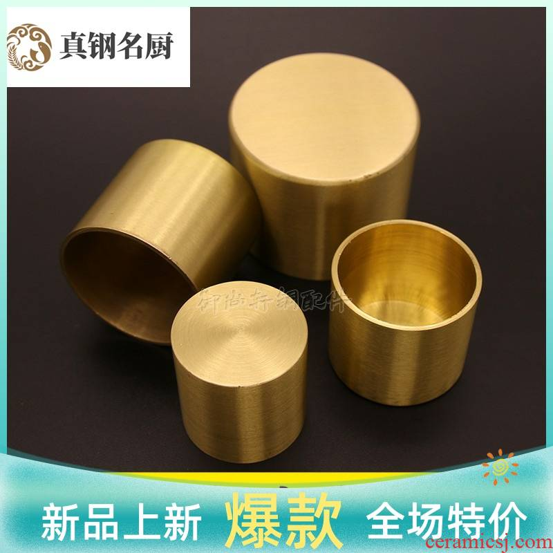 New Chinese style table's brass feet set of Nordic chair who set contracted sofa tea table back cylindrical copper set foot