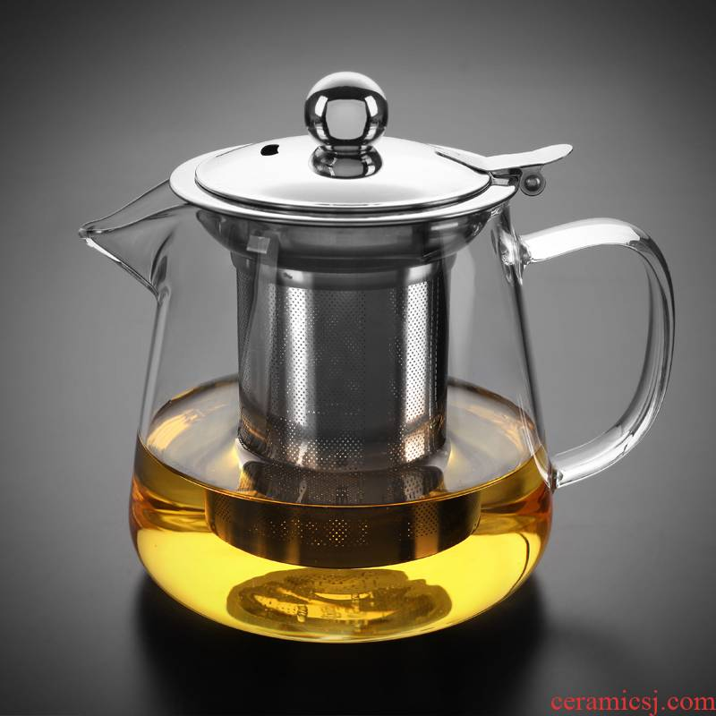 Morning glass teapot 304 stainless steel teapot thickening heat - proofing flower pot with tea, black tea tea with
