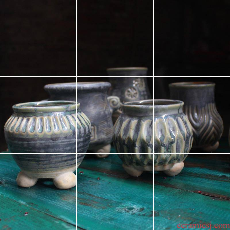 Small fleshy flowerpot zhuang zi archaize do old contracted line marker with meaty plant ceramic flower pot in foot