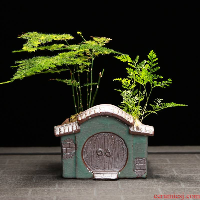 Flowerpot ceramic creative Chinese style house, elder brother up indoor green, the plants potted meat more desktop calamus asparagus bonsai pot