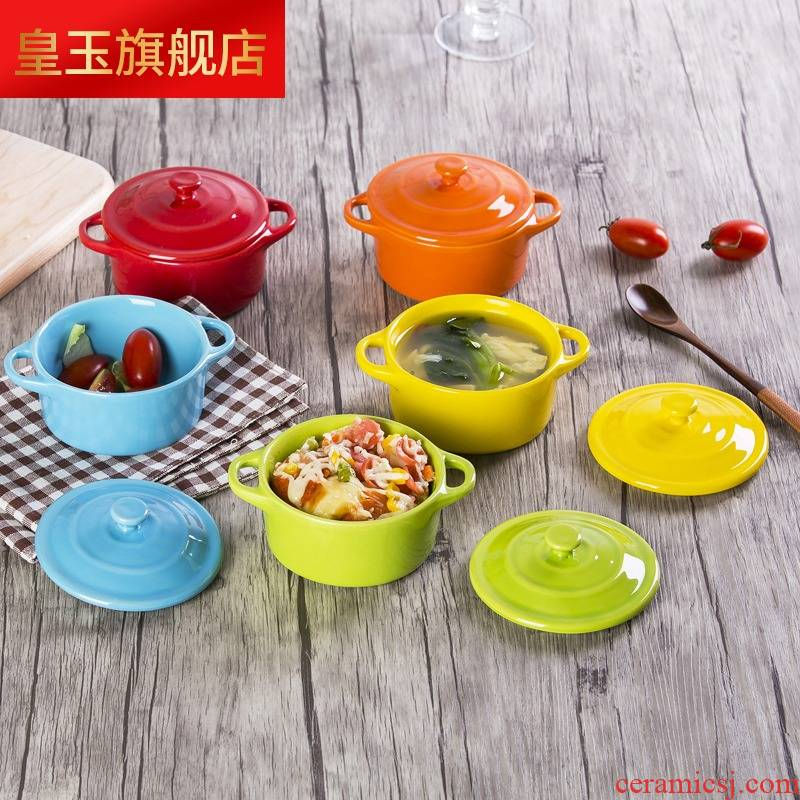 5 hj ceramic bowl with cover ears braise cup double peel milk breakfast baked baked steamed egg pudding bowl bowl mold