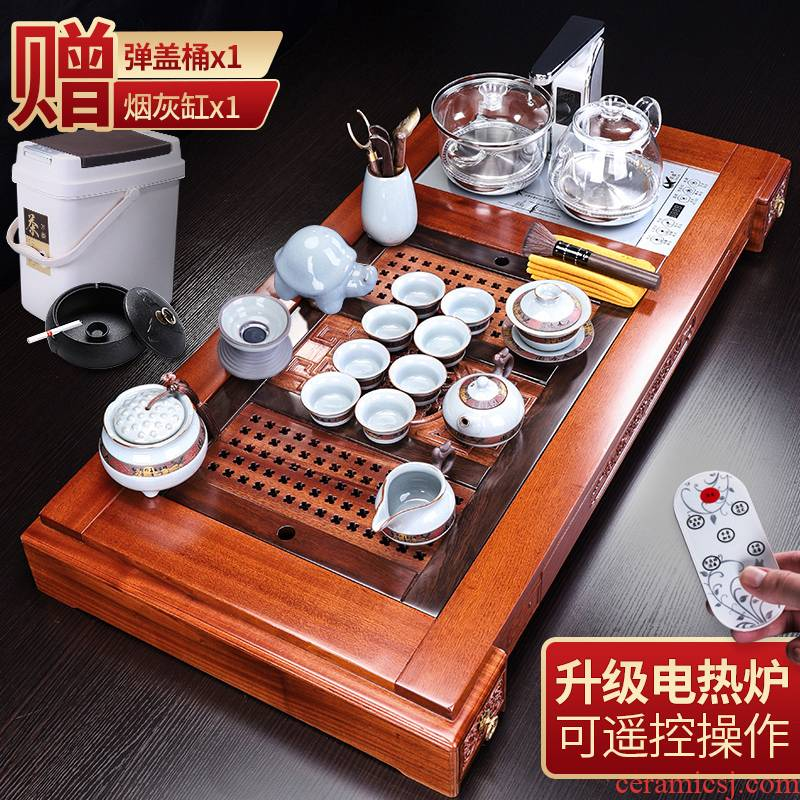 Tang Feng classical rosewood tea tray was suit household elder brother up kung fu tea set solid wood tea remote - controlled automatic electric heating furnace