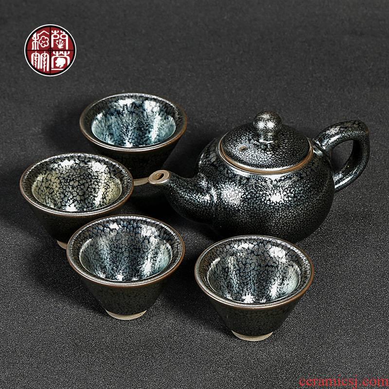 Chen Xiancong fujian jianyang built light tea set tea flowers, a pot of four cups of pure manual large - sized temmoku lamp cup