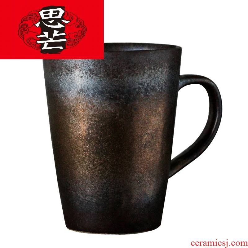 Think mans hand retro move flow glaze metal sense of Japanese couples for a cup of water glass ceramic keller of coffee cup