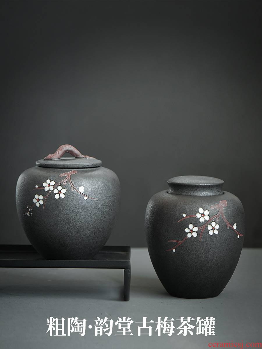 Evan ceramic hand - made name plum flower tea jar airtight jar large moistureproof tea tea storehouse storage POTS of household