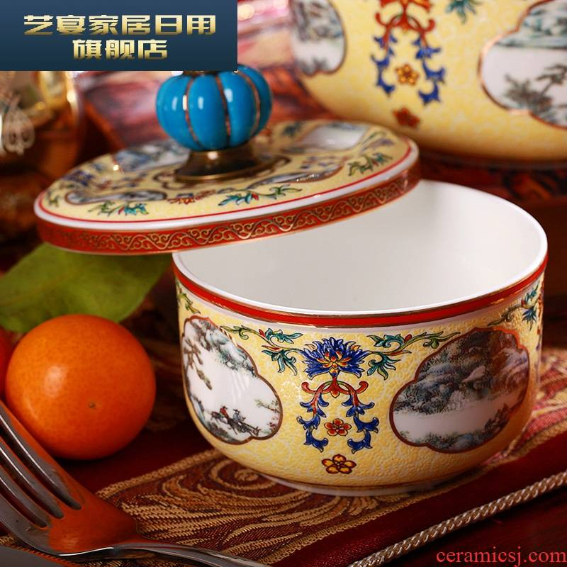 3 hx ceramic lunch box lunch box microwave use of ipads China preservation bowl three - piece with the cover preservation box sealed box