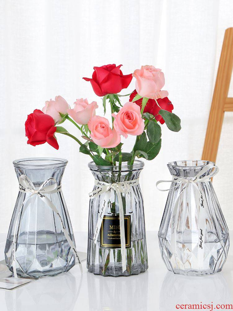 Adornment is pure and fresh and other dark brown, conical sitting room China floret bottle glass water raise mini transparent accessories wellies