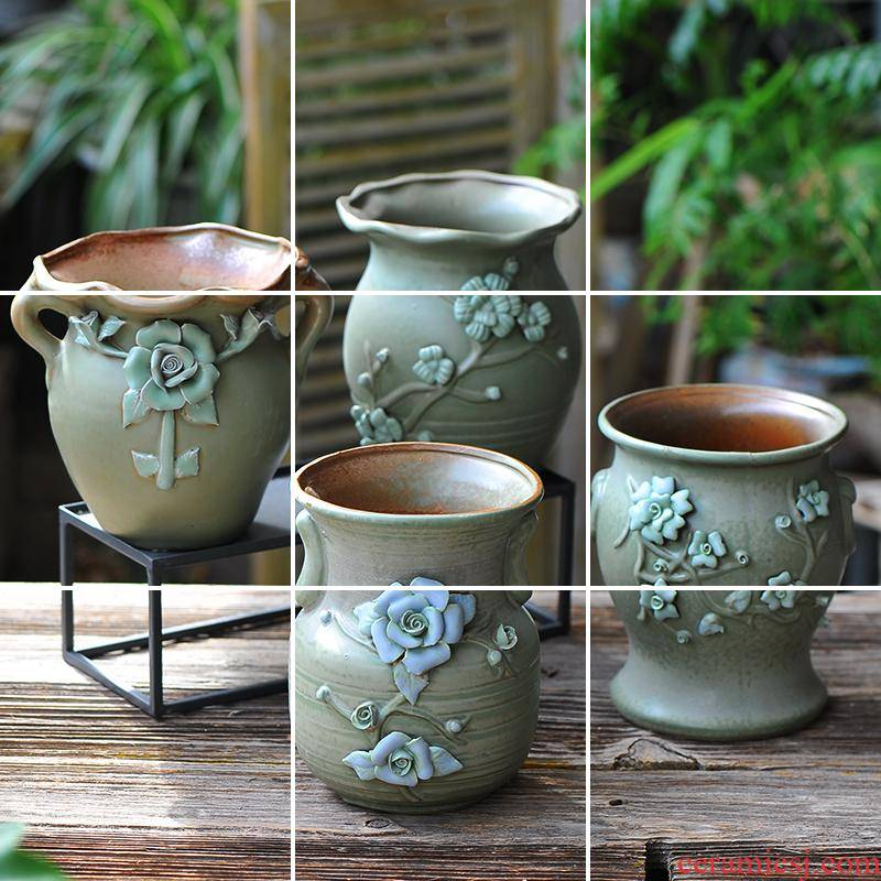 More big flowerpot ceramic meat meat meat old running the plant is a new European mage, restoring ancient ways of creative move bonsai POTS