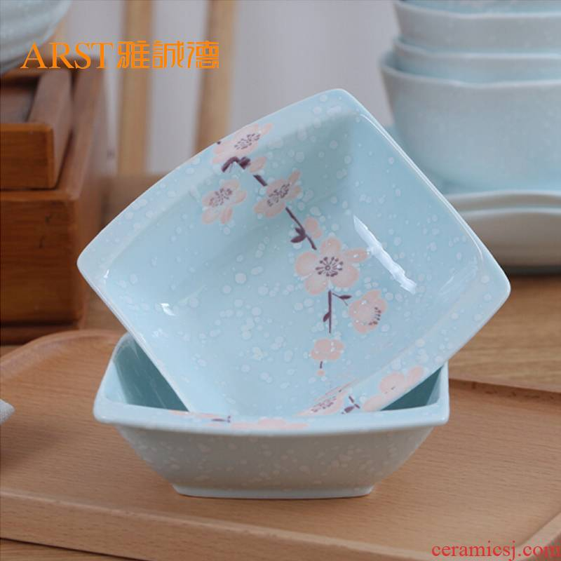 Ya cheng DE element rhyme surplus sweet dazzle see colour pink blue curved bowl bowl of soy sauce vinegar dish tableware under Japanese printing glaze
