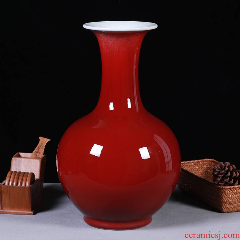 Ruby red vase Chinese style household, sitting room porch jingdezhen ceramics handicraft furnishing articles decorative porcelain flowers in marriage