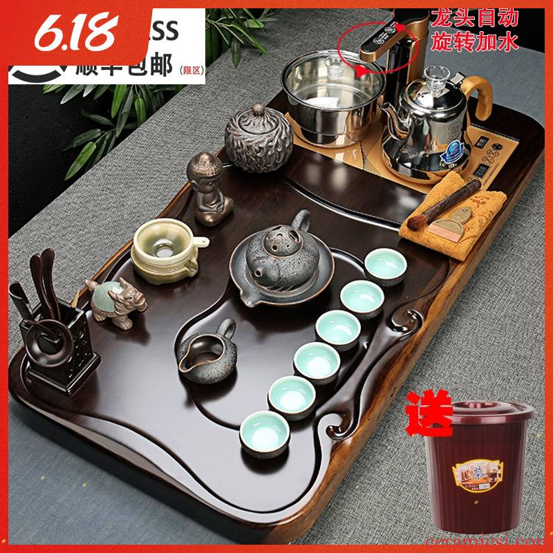 Tea set household ebony wood Tea tray ceramic violet arenaceous kung fu Tea cups of a complete set of fully automatic four unity contracted