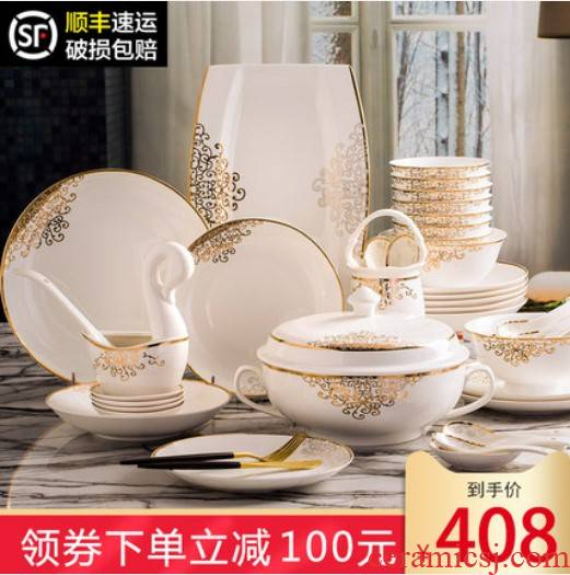 The dishes suit household European contracted costly 56 skull porcelain tableware suit jingdezhen ceramic dishes