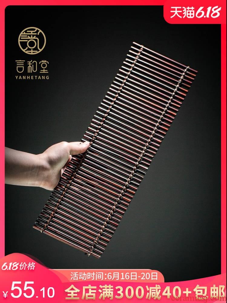 Bamboo a pot of old coal mat Bamboo raft checking Bamboo cane tray tea tea accessories tea mat mat iron pot saucer