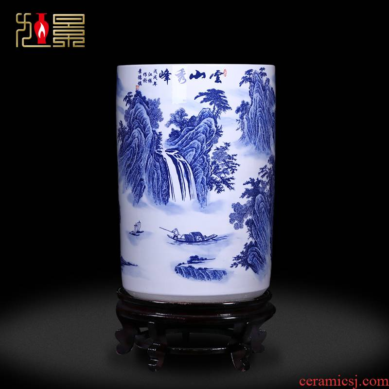 Blue and white landscape ceramic painting and calligraphy scrolls cylinder straight new Chinese style living room floor jingdezhen vase receive furnishing articles