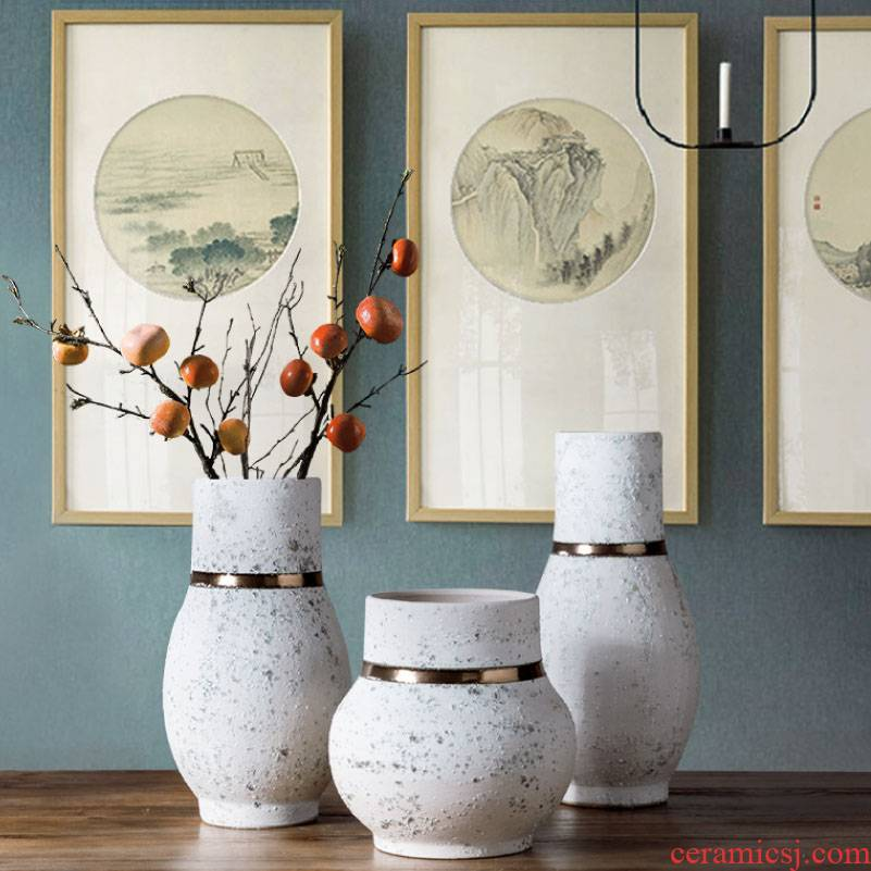 Jingdezhen ceramic new Chinese style table vase dried flower adornment furnishing articles of modern decoration art flower arranging creative living room