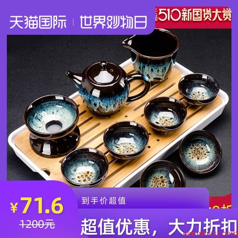 Build light tea set household kung fu tea cups of a complete set of ceramic teapot up temmoku glaze up alluvial gold tea ware