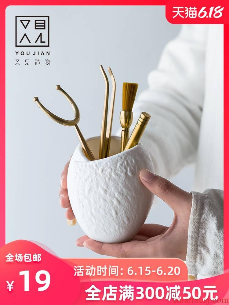 And creation of the tea taking 6 gentleman accessories of kung fu tea tea set solid wood pure copper ChaGa tea spoon