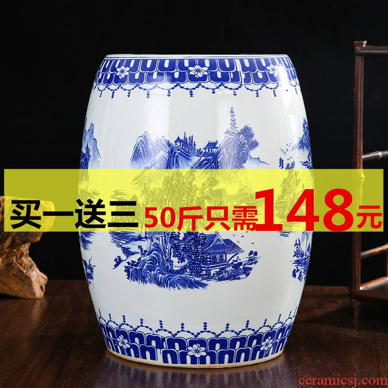 Jingdezhen ceramic barrel ricer box tank 20 jins 30 jins of 50 kg sealed storage tank with cover sealed container
