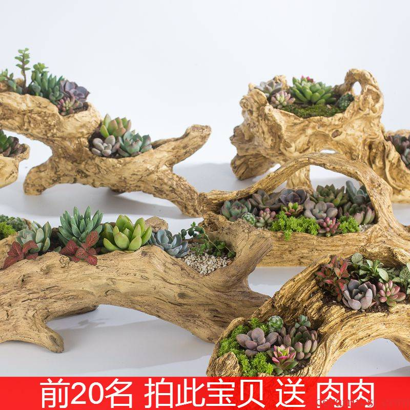 Imitation wood household more meat flowerpot more than creative move of large diameter long square plant flower POTS of ceramics