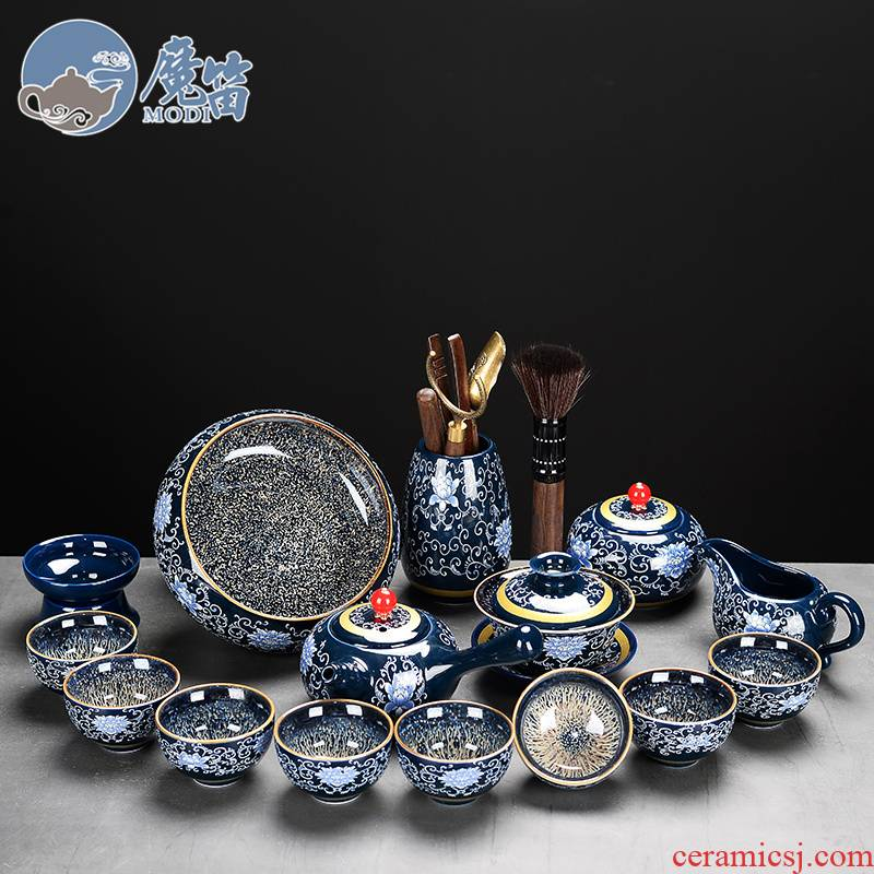The flute ceramic kung fu tea set The home side The lid bowl of tea cups of a complete set of accessories of high - grade office