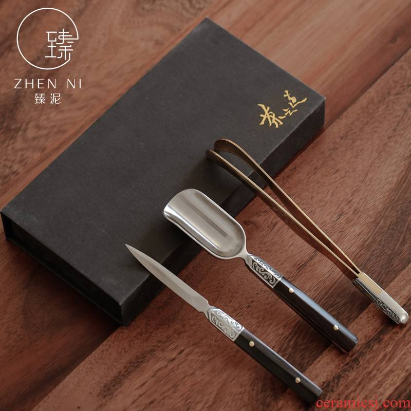 "By mud knife three - piece tea ""Damascus steel teaspoons ChaGa TSP tea ebony 6 gentleman accessories"